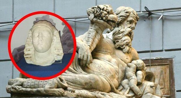 statua nilo testa sfinge ritrovata