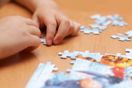 puzzle in kid hands