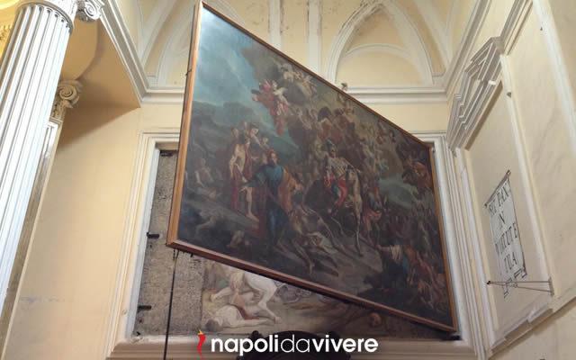 Un affresco nascosto dietro un quadro nella chiesa di san Giorgio a Napoli