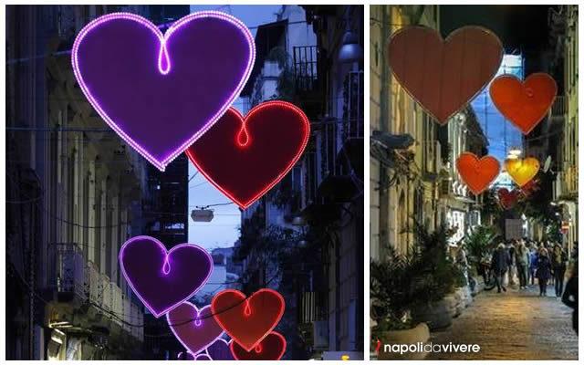 Accese le Luminarie per San Valentino 2016 a Chiaia