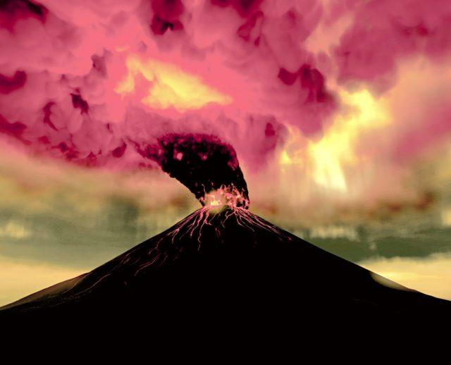 Una ricostruzione dell'eruzione del Vesuvio del 79 d.C.