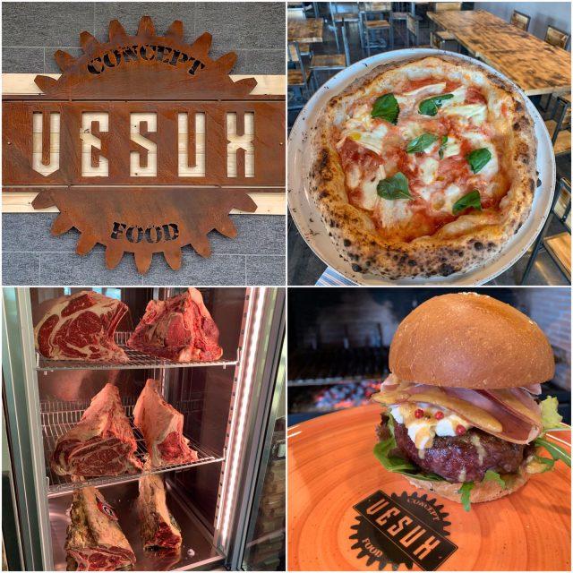 Collage pizza, hamburger e carne Vesux