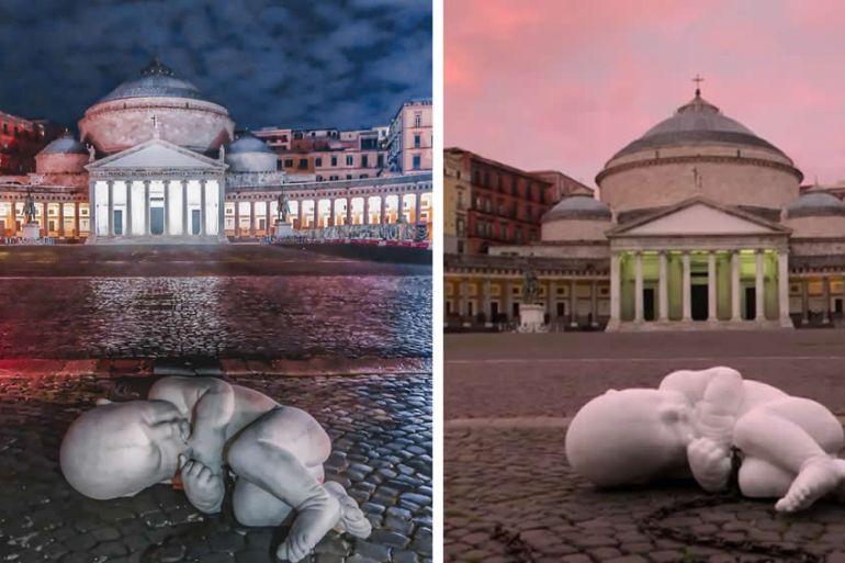 Look-down, neonato incatenato a Piazza Plebiscito: il significato dell'opera
